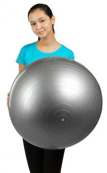 Woman and exercise ball