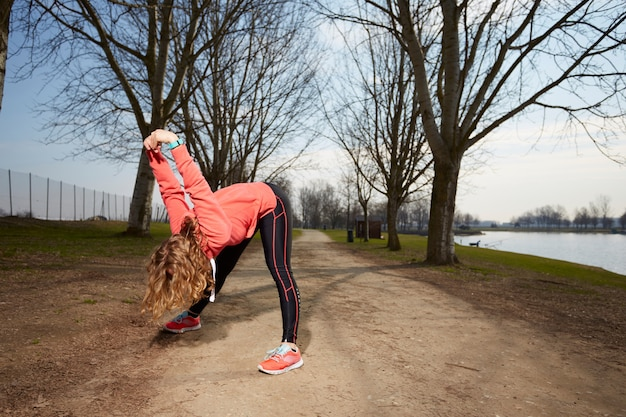 Woman exercises in outdoor