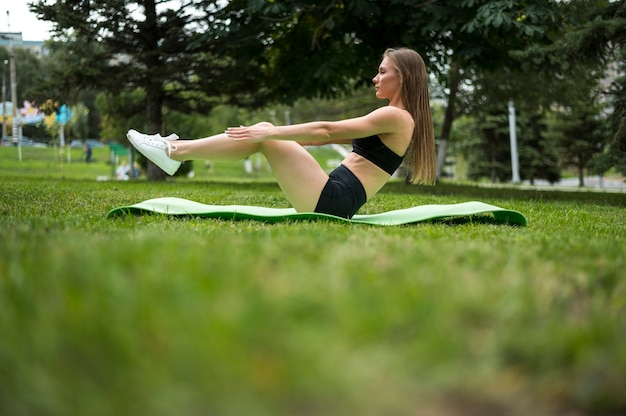 Woman exercising low angle shot