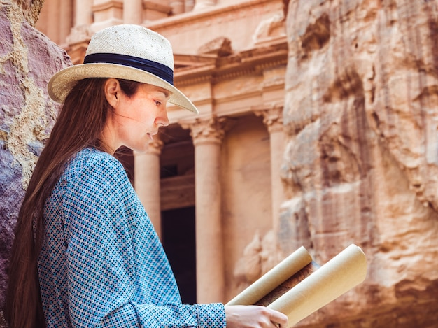Woman exploring the sights city of petra