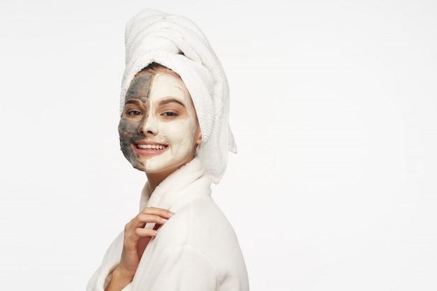 Woman face care, masks and portrait