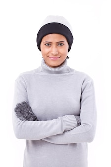Woman in fall or winter clothing isolated