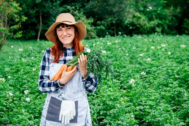 여성 농부는 채소밭 배경에 있는 밀짚모자에 당근 다발을 들고 있다