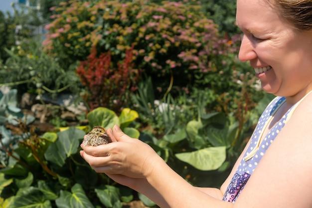 女性農家が屋外で国産ウズラチキンを優しく手に持つ