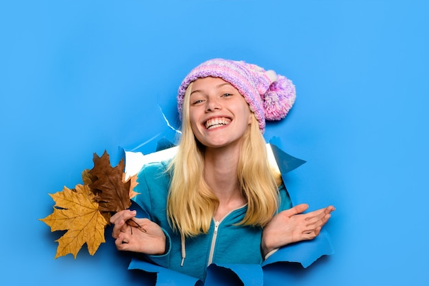 Woman fashion discount season sales autumn sale smiling woman in hat with maple leaves happy woman