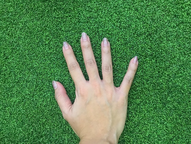 Woman fashionary nail hand touching green grass land.