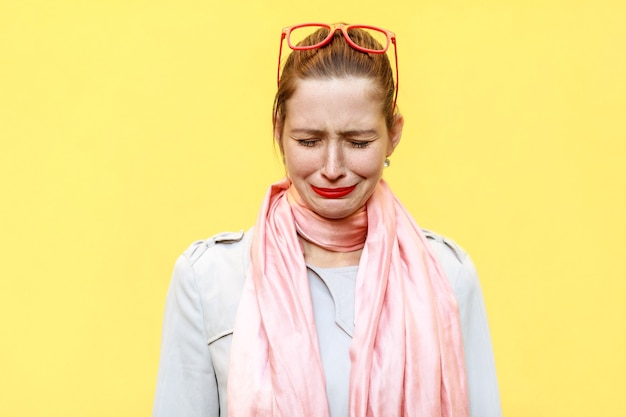 Woman feeling ashamed or sick human face expressions and emotions concept