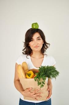 Tshirt 음식 패키지 건강 식품 배달을 위한 여자