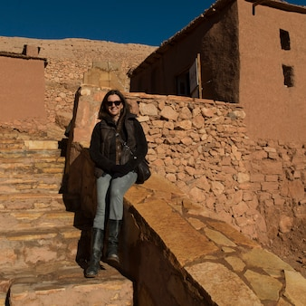 Woman at a fort, ait benhaddou, ouarzazate, souss-massa-draa, morocco