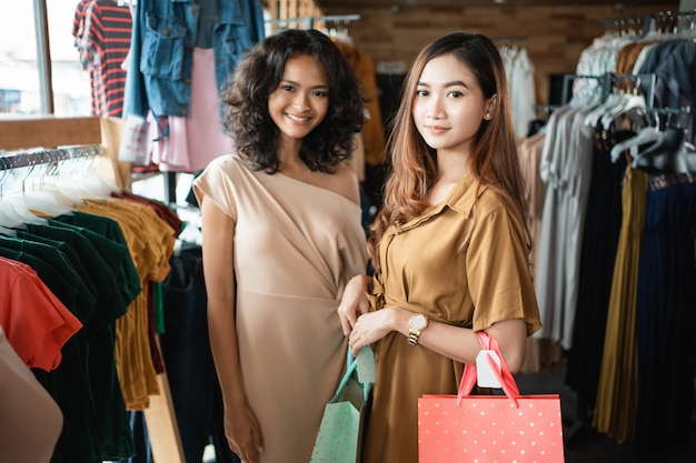 Woman friend shopping together