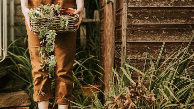식물 바구니를 들고 있는 여성 정원사