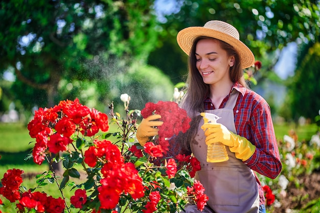 Женщина садовник поливает куст роз в бутылке с цветами в саду