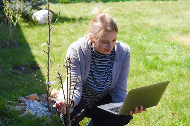 Женщина-садовник с ноутбуком, анализ урожая, агрохолдинг.