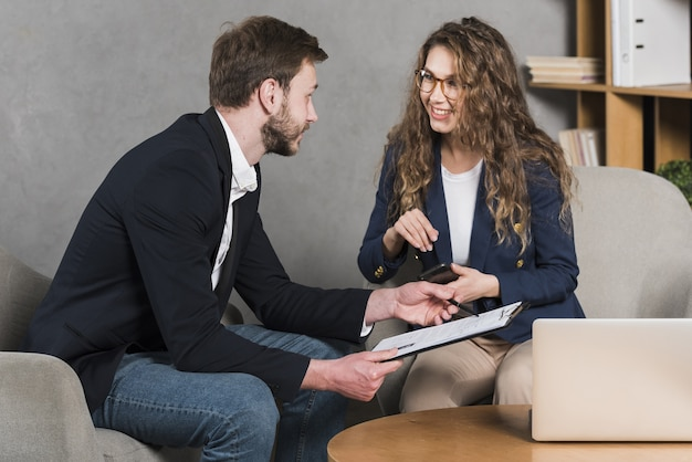Woman getting interview for a job