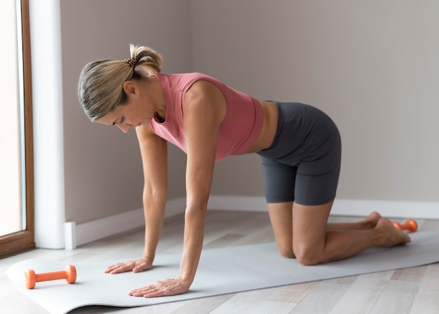 Woman getting ready for a fitness workout
