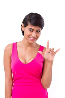 Woman giving love hand sign gesture