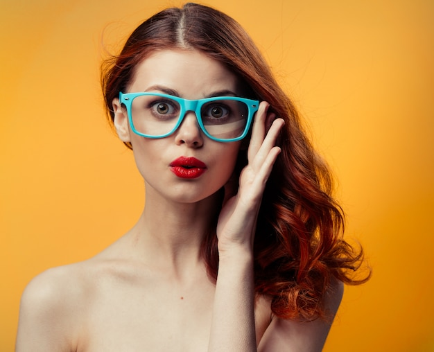 Woman glasses bright yellow orange
