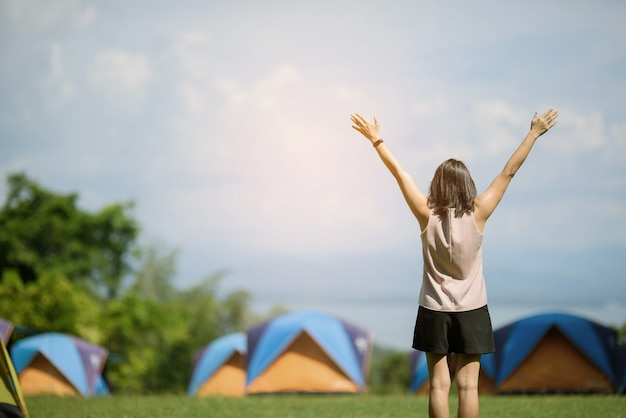 Woman go to travel on holiday, relax time, tent, nice landscape with girl