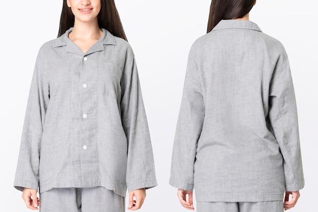 Woman in gray pajamas comfy sleepwear apparel