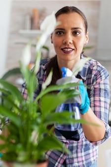 家庭の台所で植物を育て、汚れに対して葉に水を噴霧する女性。装飾、植物、成長、ライフスタイル、デザイン、植物、土、家庭用、成長、葉、趣味、種まき、幸せ。