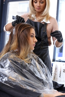Woman on hairdresser salon