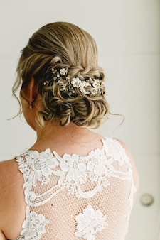 Woman hairstyle for her wedding day