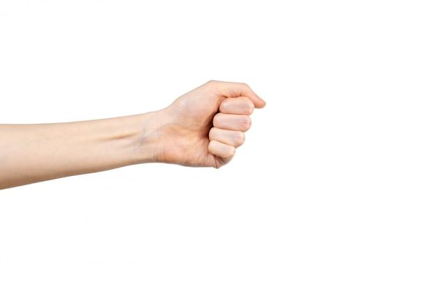 흰색 배경 위에 절연 떨리는 주먹의 여자 손 제스처