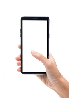 Woman hand holding the black smartphone and touching on blank screen isolated on white background