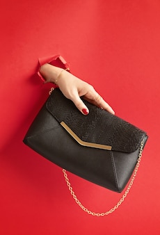Woman hand holding fashion handbag through the hole in red paper wall. chic, style, fashion collection, trends, beauty blog concept