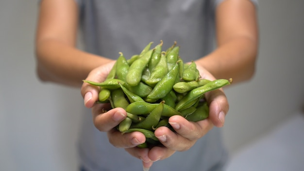 Woman hand holding japanese green soybean