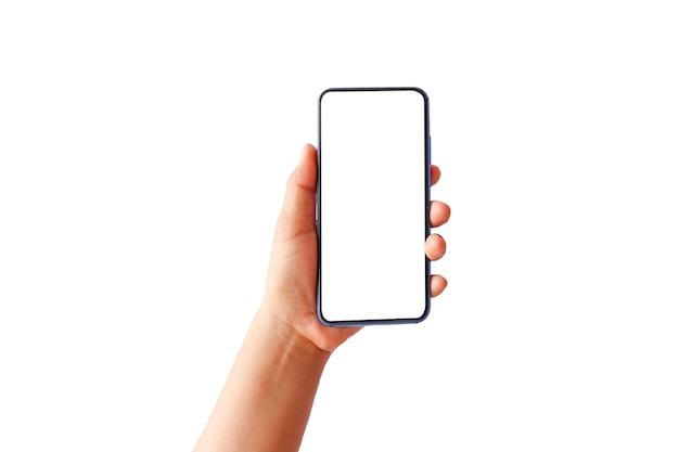 Женщина рука современный сотовый телефон и белый экран, изолированные на белом фоне.