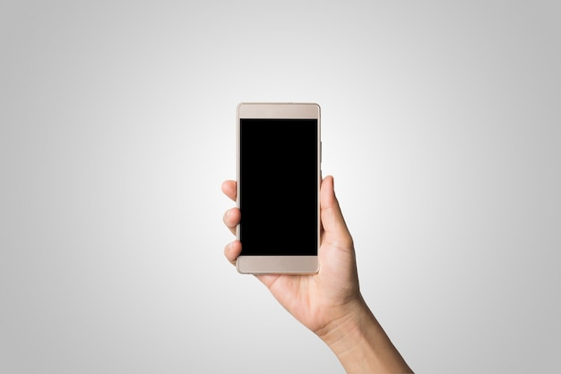 Woman hand holding smart phone blank screen. copy space. hand holding smartphone isolated on white background.