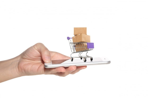 Woman hand holding smart-phone with paper boxes in a trolley.
