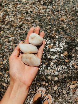 石を持っている女性の手。色とりどりの貝殻黒海ルーマニア。夏の背景パターン