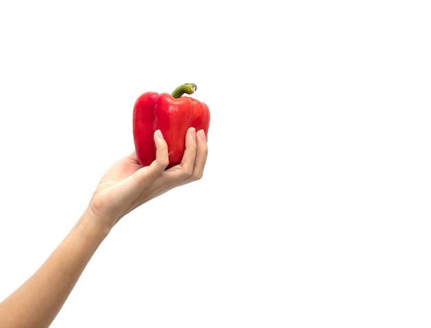 白い背景で隔離の甘い赤ピーマンを持っている女性の手