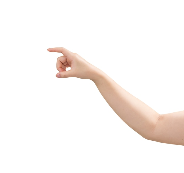 白い表面上に分離されて仮想のビジネスカードを持つ女性の手