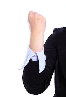 흰 벽에 고립 된 여자 손