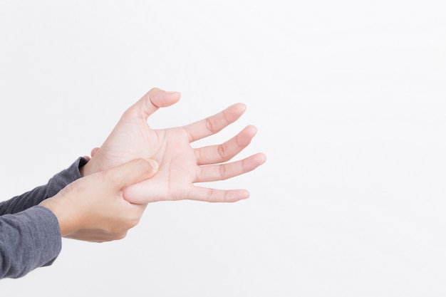 Woman hand pain on white background