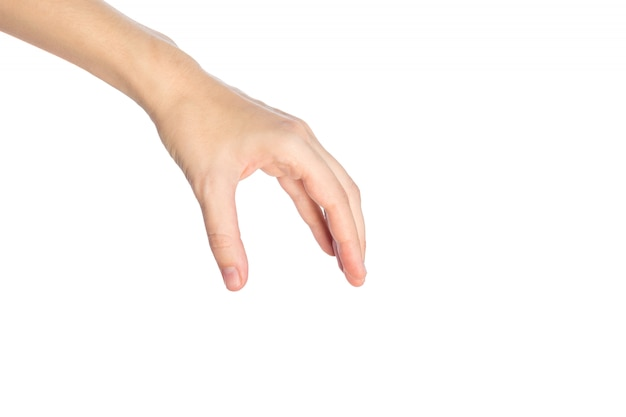 Woman hand show picking or take something gesture isolated