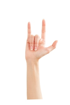 Woman hand showing peace love on white
