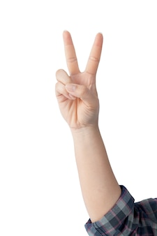 Рука женщины показывая символы и жесты изолированные на белизне.
