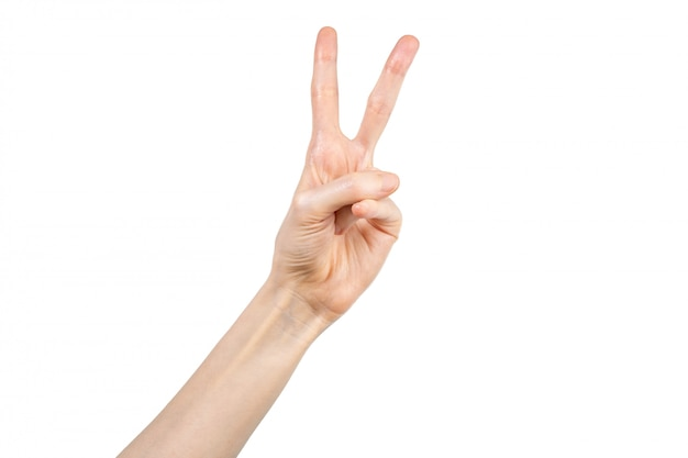 흰색 배경에 두 손가락을 보여주는 여자 손
