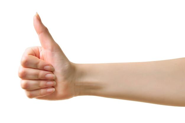 女性の手の記号は、白い背景で隔離の平均okです