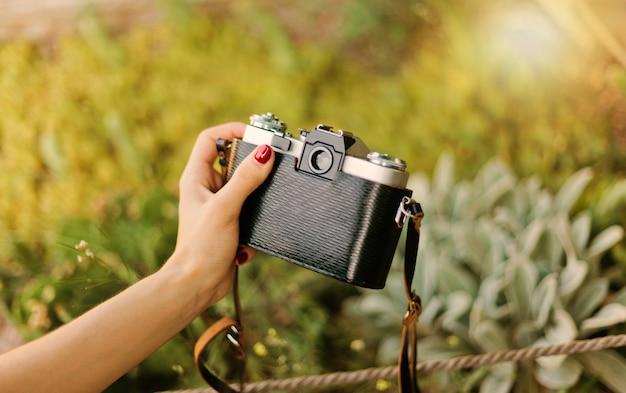 レトロなカメラを持つ女性の手は、屋外の庭でエキゾチックな植物を撮影します