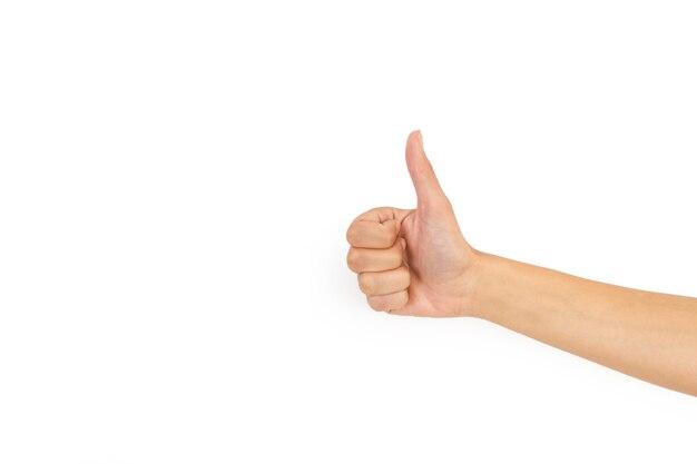 Женская рука с большим пальцем вверх на белом фоне и с копией пространства
