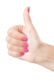 白い背景の上の親指で女性の手