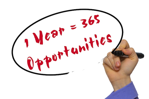 Woman hand writing 1 year = 365 opportunities on blank transparent board with a marker isolated over white background. business concept. stock photo