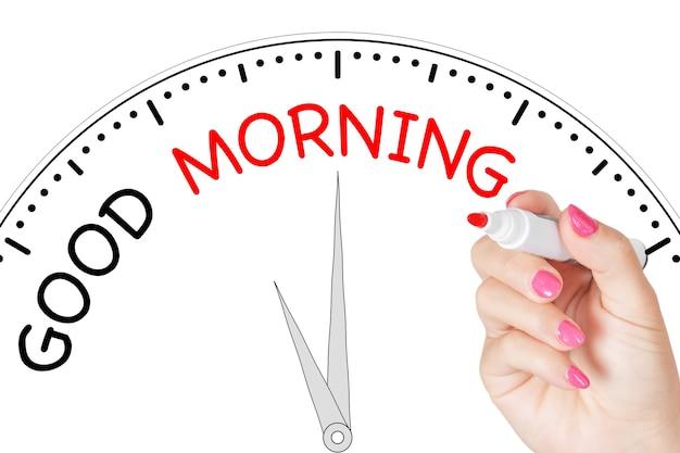 흰색 바탕에 투명 닦아 보드에 빨간색 표시와 함께 좋은 아침 메시지를 작성 하는 여자 손. 3d 렌더링