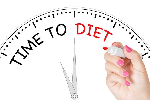 여자 손 흰색 바탕에 투명 닦아 보드에 빨간색 표시와 함께 다이어트 메시지를 작성 시간. 3d 렌더링