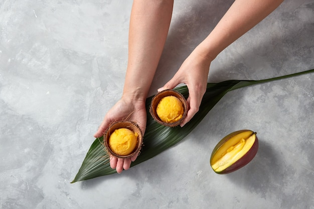 Woman hands hold frozen yellow mango sorbet in the coconut shell with half fresh mango on palm leaves on gray stone background. flat lay